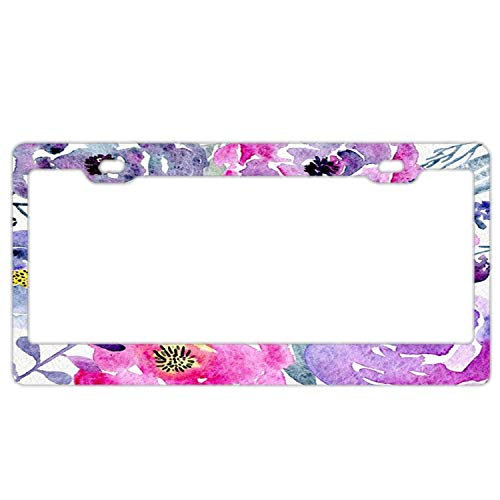 FunnyLpopoiamef Blue Flower Clipart Purple License Plate Frame, Custom License Plate Cover,License Plate Holder, Tulips Decorative License Plate Frame