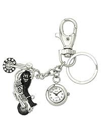 JAS Unisex Novelty Belt Fob/Keychain Watch Motorcycle Silver Tone