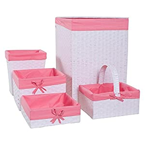 Redmon 5-Piece Hamper Set, White/Pink