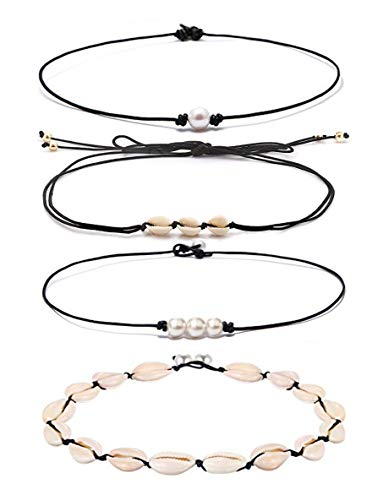 DB DUOBAO Shell Pearl Choker Necklace for Women Hawaiian Seashell Pearls Choker Necklace Adjustable Cord Necklace Set (4PACK set2)