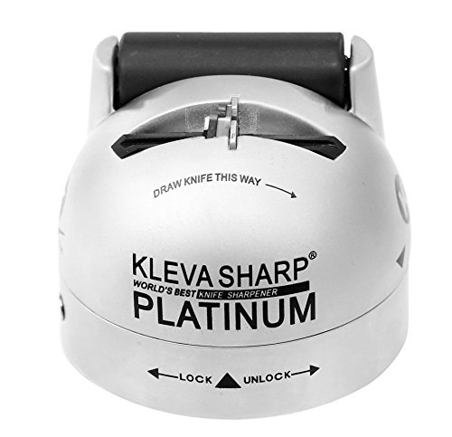 KLEVA SHARP PLATINUM Metal Dual Action Professional Knife Sharpener - The Professional Standard Hot and Cold Sharpen for your Knives, Tools and Scissors