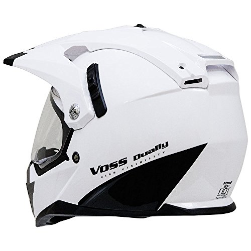 Amazon.com: Voss 600 Dually Dual Sport Helmet with Integrated Sun Lens and Removable Peak. DOT - M - Gloss White Shark Fin: Automotive