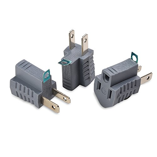 (Cable Matters 3-Pack Polarized Grounding Adapter in Grey (3 Prong to 2 Prong Adapter) - Allows a 2-Prong Outlet to Accept 3-Prong)