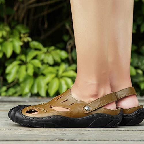 Passeggio Khaki Estate Scarpe Piede Baotou Vacchetta 40 Uomini Del Chiuso Sandali A Pantofola Dito waZ1nHqg4