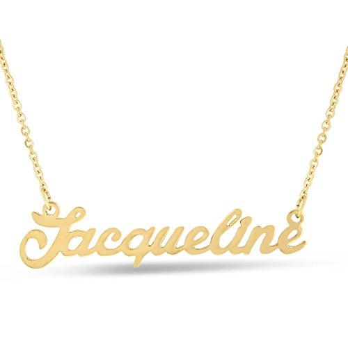 Jacqueline Nameplate Necklace In Gold Tone