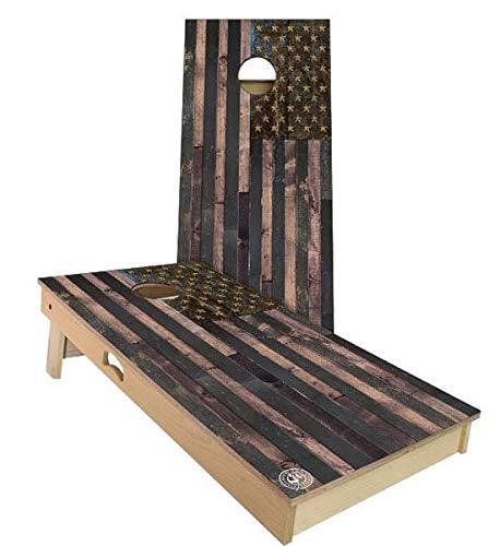 Skip's Garage アメリカ国旗 ビンテージ コーンホールボードセット - サイズとアクセサリーをお選びください - ボード2枚 バッグ8枚など B07N4J4SF2 D. 2x4 Boards (All Weather Bags)|C.付属品 (2) コーンホールボード ライト  D. 2x4 Boards (All Weather Bags), オウムチョウ a97e2c11