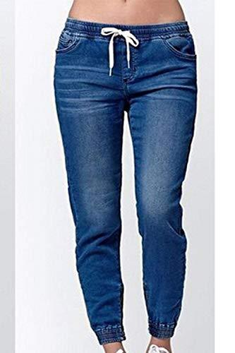 Drawtring lastique Capris Sevozimda Pantalon Jean Femmes Taille Blue1 Denim Cargo Pantalon UAaFtOq