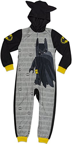 (LEGO Batman Big Boys' Costume, Onesie Pajamas, All-in-One Set, Black/Grey, 4/5)