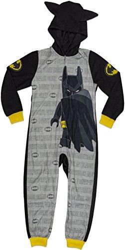 LEGO Batman Big Boys' Costume, Onesie Pajamas, All-in-One Set, Black/Grey, 6/7