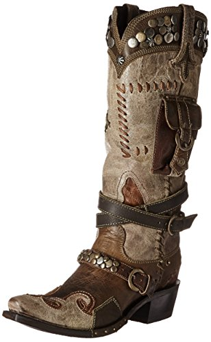 Lane Womens Per Doppio D Ranch Frontier Trapper Cowgirl Avvio Snip Toe - Dd9004b Marrone