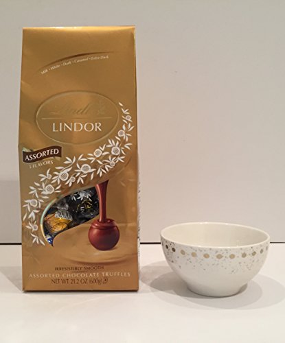 Lindt Chocolate Truffles Candy Ultimate 5 Flavor Assortment Mega Size Bag (21.5oz) and a Designer Porcelain White with Gold Dots Christmas Bowl By Nicole Miller. Perfect for Holiday or Any Day Gift