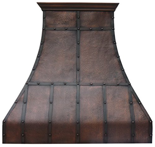 Bests Copper Range Hood Handcrafted by Sinda Artisans Comes with Liner and Internal Powerful Motor Fan H13LTR
