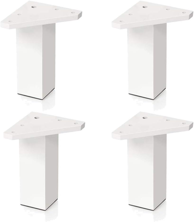4 un. Pata pie cuadrada para Mueble en resina plastica abs ANTICORROSION 40x40mm altura 100mm blanco con Tapón contera