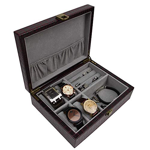 Decorebay Executive PU Crocodile Leather Cufflink Case and Ring Storage Organizer and Jewellery Box for Men (Seal Brown)