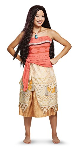 Disguise Women's Moana Deluxe Adult Costume, red, L (12-14)