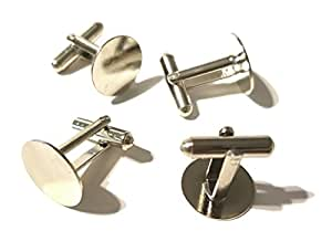 TAVERNIT 2 Pairs of SILVER CUFFLINKS Plain Simple Round Flat Blank Cuff Links (silver-plated-base)