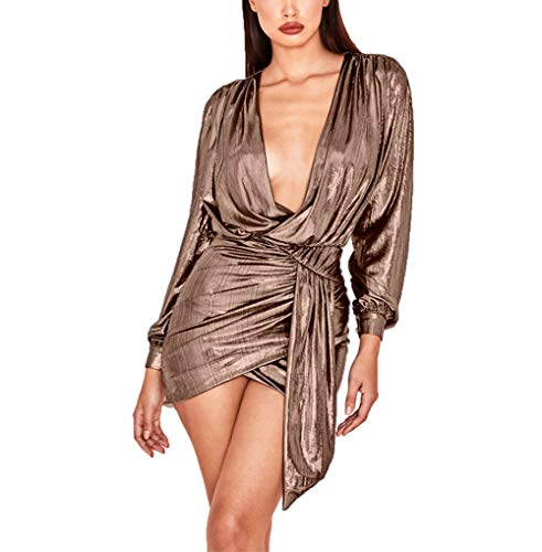 Gold Party Dress - Ophestin Women's Sexy Deep V Neck Metallic Glitter Ruched Long Sleeve Mini Party Dress Rose Gold Size S