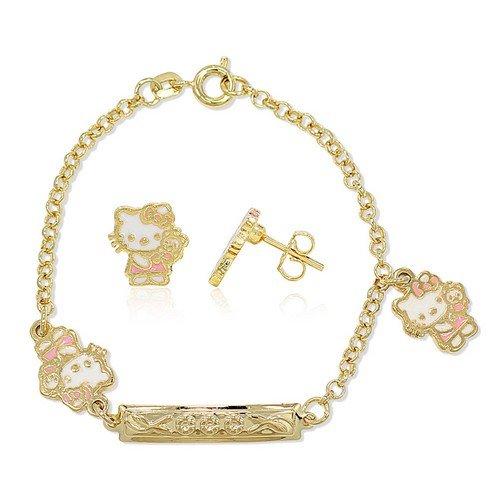 Bijoux Kids-Pulsera de eslabón pequeño pendientes de Hello Kitty-Joyero, chapado en oro, color rojo
