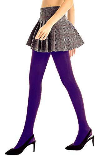 DORALLURE Semi Opaque Tights for Women Control Top Pantyhose Run Resistant Footed Hosiery (Purple, X-Large)