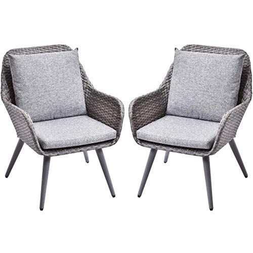 D-YUN Outdorr Wicker Dining Chairs PE Rattan Accent Chair with Grey Cushion Patio Garden Furniture Sets, Set of 2