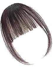 Wymienny sztuczny grzywka ciemnobrązowa frędzla przenośna sztuczne włosy Przedłużanie z przodu