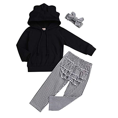 NUWFOR Toddler Baby Solid Ruffle Hoodie Tops+Plaid Pants+Headband Outfit Clothes