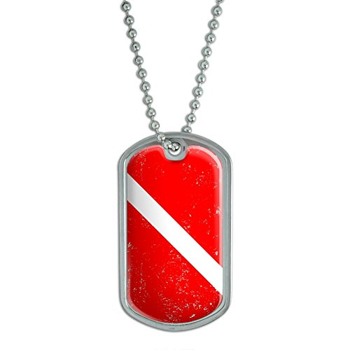 Graphics and More Diving Flag Distressed Scuba Diver Dive Military Dog Tag Keychain (d2244) ()