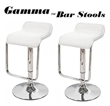 Terrific Gamma Modern Adjustable Bar Stools White Set Of 2 Machost Co Dining Chair Design Ideas Machostcouk