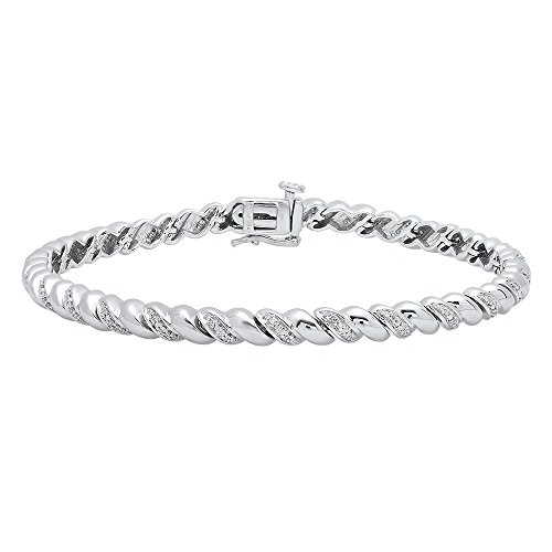 DazzlingRock Collection 0.25 Carat (ctw) Sterling Silver Round White Diamond Ladies Rope Style Tennis Link Bracelet 1/4 (0.25 Ct Diamond Bracelet)