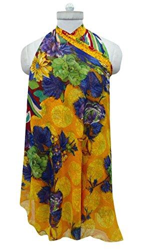 Georgette Magia Falda Del Abrigo De La Vendimia Vestido Floral De Boho Sarong Ocre amarillo y púrpura