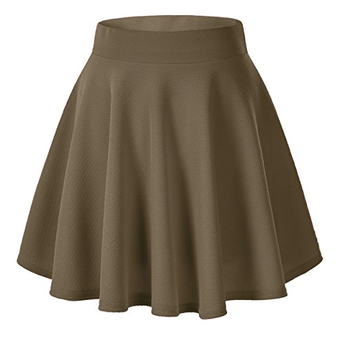 Urban CoCo Women's Basic Versatile Stretchy Flared Casual Mini Skater Skirt (Medium, Brown)