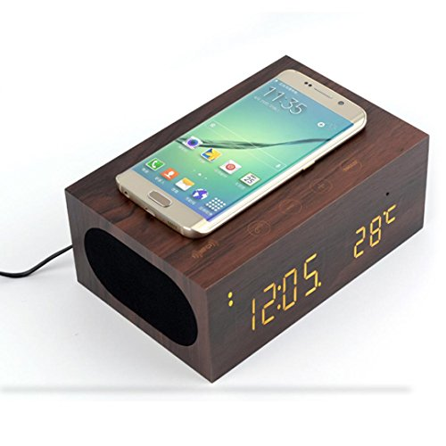 Wireless Charger,Mailat QI Wireless Charger Wood Bluetooth 4.0 Stereo Speaker LED Display Alarm Clock (Coffee)