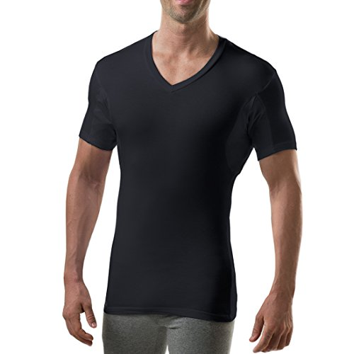 Sweatproof Undershirt for Men with Underarm Sweat Pads (Slim Fit, V-Neck) Black ()