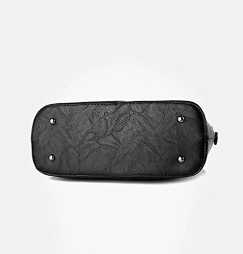 YOUJIA Women Top-Handle Bags with Metal Pendant PU Leather Large Capacity Square Handbags Vintage Shoulder Bags (Yellow, 31*24*13cm) Black