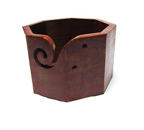 Premium Solid Dark Hard Wood Crafted Wooden Portable Octagonal Yarn Bowl | Knitting | Crochet Holder | Hind Handicrafts ( 6 x 6 x 4 inch )