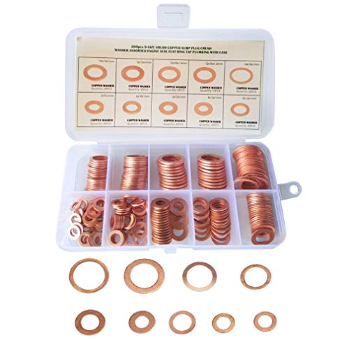 Copper Washer Assortment Set, 9 Style Size 200 PCS Copper Flat Washer Gasket, Metric Sealing Washers Assortment Kit, Auto Repair Tools Oil Seal Sheet Gasket