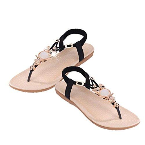 Mode Reaso Sandales Noir Sucrées À Chaussures Clips Retro Été Toe Plage Femmes De Flat Vintage Clip Bohème Tongs Chevrons Perlées wwCrqE4