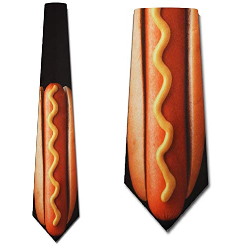 Hot Dog Tie Mens NeckTie Footlong by Three Rooker (Ties Silly Neck)