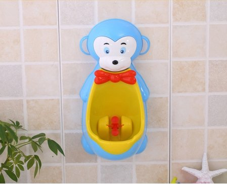 Cute Monkey Potty Training Urinal for Boys with Funny Aiming Target (Blue)
