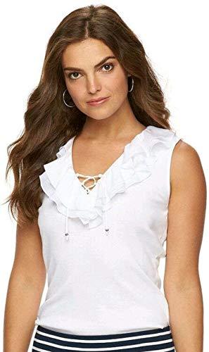 Chaps Women's Ruffle Lace-Up Sleeveless Blouse (Large, - Up Lace Chaps Womens