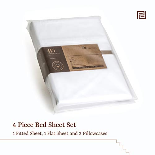 Peru Pima Luxury 415-Thread-Count Percale Peruvian Pima Cotton Queen Bed Sheet Set, White