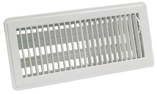 EZ-FLO 61603 Steel Floor Air Diffuser with Louvered Design with Grille Opening of 4-Inch x 10-Inch, White
