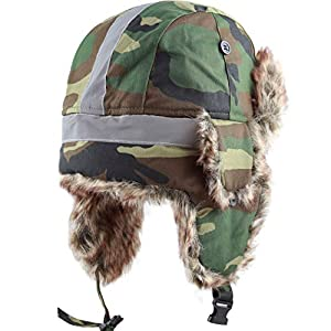The Hat Depot Safety Reflective Faux Fur Aviator Kids Adult Trapper Hat Snow Ski Trooper Winter Cap