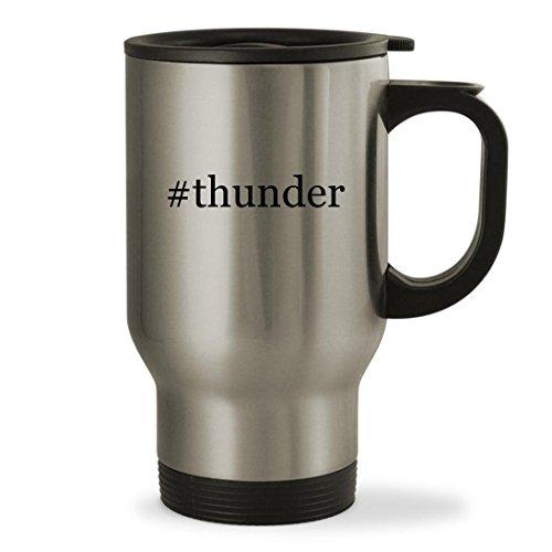 #thunder - 14oz Hashtag Sturdy Stainless Steel Travel Mug, Silver