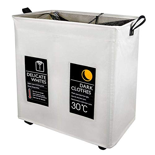 Y-home Laundry Basket-Large Laundry Hamper with Wheels,Collapsible Laundry Sorter with Classified Card Pocket,2 Compartment Laundry Organizer Waterproof Oxford Cloth Laundry Bin