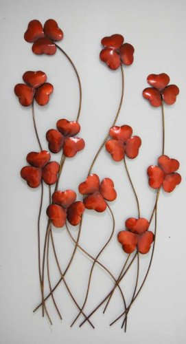 Wall Art - Metal Wall Art - Red Poppy Field Bunch: Amazon.co.uk ...