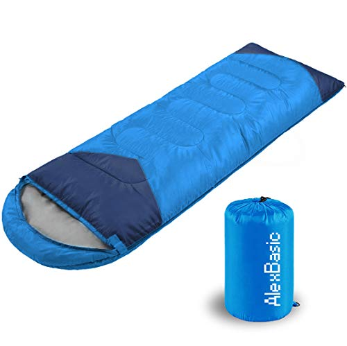 AlexBasic Camping Sleeping Bags for 4 Season, Lightweight Waterproof for Adults & Kids, Camping Equipment, Backpacking, Traveling, Hiking, 86.6in x 29.5in, 1.95KG