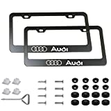 PATRICON 2-Pieces for Audi Accessory Stainless Steel Matte Aluminum Alloy License Plate Frame, with Screw Caps Cover Set Suit, Applicable to US Standard car License Frame