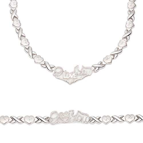Sterling Silver Rhodium Plated Stampato Xo and Heart Hugs & Kisses