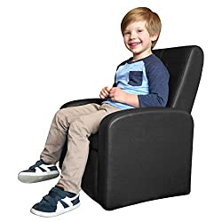 STASH Folding Kids Sofa Chair with Built in Storage Modern Childrens Ottoman Cube Living Room playroom Lounge Organizer Comfy Home Couch Sitting Play Furniture Armchair for Girls Boys (Black)